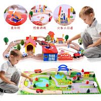 儿童小火车轨道玩具电动托马斯礼物男孩拼装模型木制轨道通用