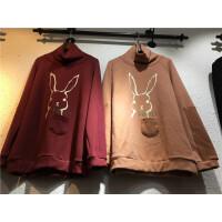 H6卫衣女 加绒加厚新款 宽松韩版高领上衣兔子印花 外套冬0.5