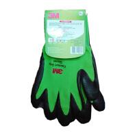 3M 舒适型防滑耐磨手套 劳保防护手套 绿色 M号