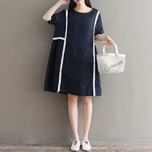 RANJU然聚 2018夏季女装新品新款织带拼接亚麻宽松大码文艺圆领中长款短袖连衣裙