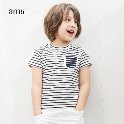 【会员节! 每满100减50】amii童装2018夏新款男童时尚休闲条纹T恤中大童儿童休闲棉布衫
