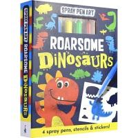 【首页抢券300-100】Spray Pen Art Roarsome Dinosaurs 彩色喷绘活动书 恐龙 创意活