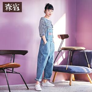 森宿muscle少女春装2018新款文艺大口袋印花牛仔背带裤女