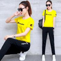 韩版大码卫衣女装休闲短袖长裤两件套 新款时尚圆领T恤运动套装女跑步服