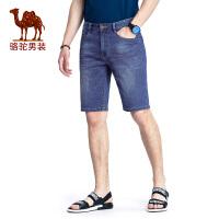 骆驼男装 2018夏季新款水洗牛仔短裤多口袋韩版中腰直筒短裤