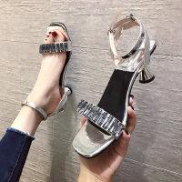 户外一字带水晶细高跟凉鞋女仙女风时尚百搭罗马鞋