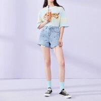 太平鸟牛仔短裤女夏装2019新款韩版刺绣破洞显瘦宽松阔腿热裤女装