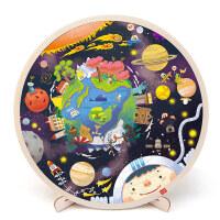 儿童拼图玩具宝宝木质太阳系地图拼图恐龙拼图3-6岁