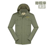 户外秋冬男休闲夹克中长款风衣防风连帽外套 橄榄绿 M