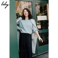 Lily2019冬新款女装商务气质不对称闪葱条纹通勤宽松休闲裤5905