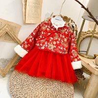 女宝宝新年裙冬装女童新款中国风过年裙子女孩公主连衣裙