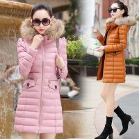 棉衣女中长款韩版2017冬季新款毛领大码大衣棉袄外套