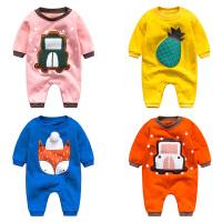 女婴儿连体衣服秋冬季0岁5个月3宝宝冬装6新生儿套装可爱加厚睡衣