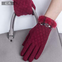时尚女士触摸屏羊毛手套可爱兔毛球学生加绒加厚保暖手套 可礼品卡支付