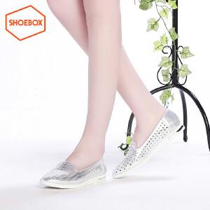 达芙妮旗下SHOEBOX/鞋柜新款时尚尖头单鞋休闲低跟平底洞洞鞋女鞋