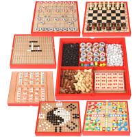 儿童木制多功能六合一游戏棋盘 益智桌面游戏玩具象棋飞行棋围棋 六合一中国象棋