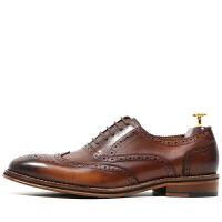 复古英伦雕花皮鞋男真皮布洛克款式牛津鞋男擦色意大利手工鞋