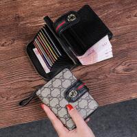 �凸佩X包女短款新款多卡位卡包一�w印花��性拉��X�A搭扣皮�A