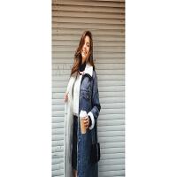 冬季新款 欧美风中长款加绒时尚牛仔女式风衣外套 蓝色