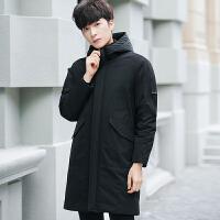 男士纯色中长款加厚羽绒服男冬季韩版修身青年连帽个性冬装外套潮 黑色