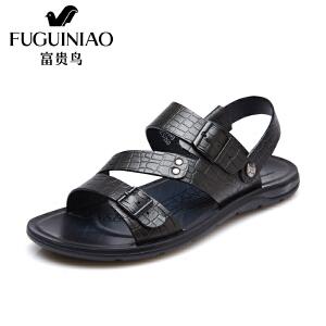 富贵鸟(FUGUINIAO)夏季新品头层牛皮沙滩鞋时尚个性纹路 清爽透气凉鞋