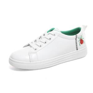 O'SHELL欧希尔新品115-8113欧美平底女士板鞋小白鞋