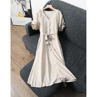 小众设计感~2020春季新款洋气灯笼袖V领显瘦连衣裙中长款 S05297