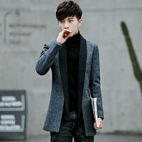 秋冬季韩版修身风衣男士中长款毛呢大衣休闲潮流呢子外套男装 灰色 M