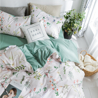 家纺全棉1.5米床单被罩被套床笠四件套纯棉北欧式1.8m双人床上用品
