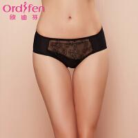 【2件3折到手价约:35】欧迪芬女士内裤刺绣性感中腰女式三角内裤XP6258