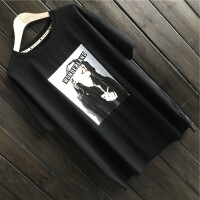韩版女装纯棉印花美女中长款短袖T恤大码宽松潮范圆领打底衫 均码