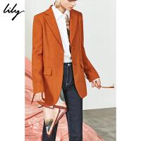 【不打烊价:351元】 Lily2019秋新款复古气质宽肩修身印花拼接丝巾西装女119330C2212