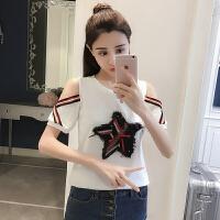 夏新款韩版个性露肩短袖T恤女装学生白色打底衫心机体恤露肩上衣
