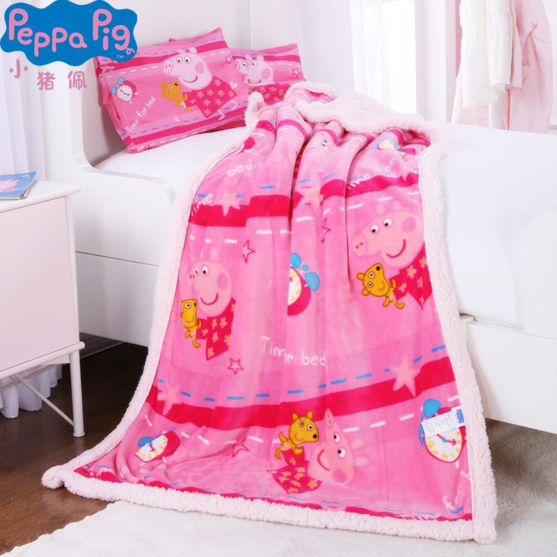 小猪佩奇儿童羊羔绒被枕头套装 宝宝幼儿园卡通被子 秋冬保暖盖被纯棉枕+羊羔绒毯礼盒装