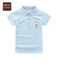 【儿童节大促-快抢券】binpaw男宝宝T恤 童装男童夏装全棉牛仔领翻领拼接潮童短袖T恤