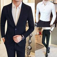 西装男套装韩版修身三件套英伦商务正装外套男士休闲小西服