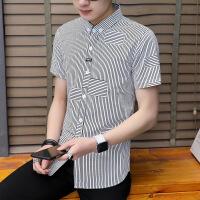 夏季新款短袖男士衬衫韩版修身帅气潮流条纹休闲衬衣商务寸衫夏装