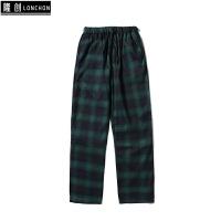 秋冬季情侣款韩版格子加厚休闲裤宽松直筒长裤子 绿色 宽松