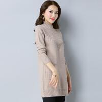 秋冬韩版宽松羊毛衫大码中长款羊绒衫女套头加厚针织打底衫毛衣裙