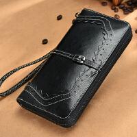 xg新款女士钱包女长款牛皮拉链皮夹手包复古钱夹时尚蕾丝手拿包 黑色