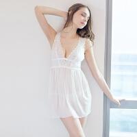 唯美性感睡衣极度诱惑薄纱透明吊带睡裙冰丝套装女蕾丝情趣内衣夏SX 均码