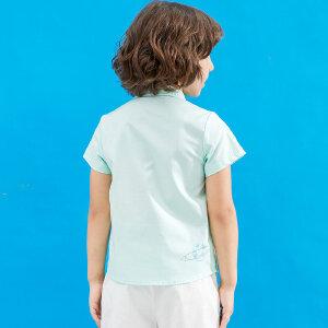 AMII童装2017夏季男童短袖衬衫英伦风翻领字母印花纯棉薄衬衫