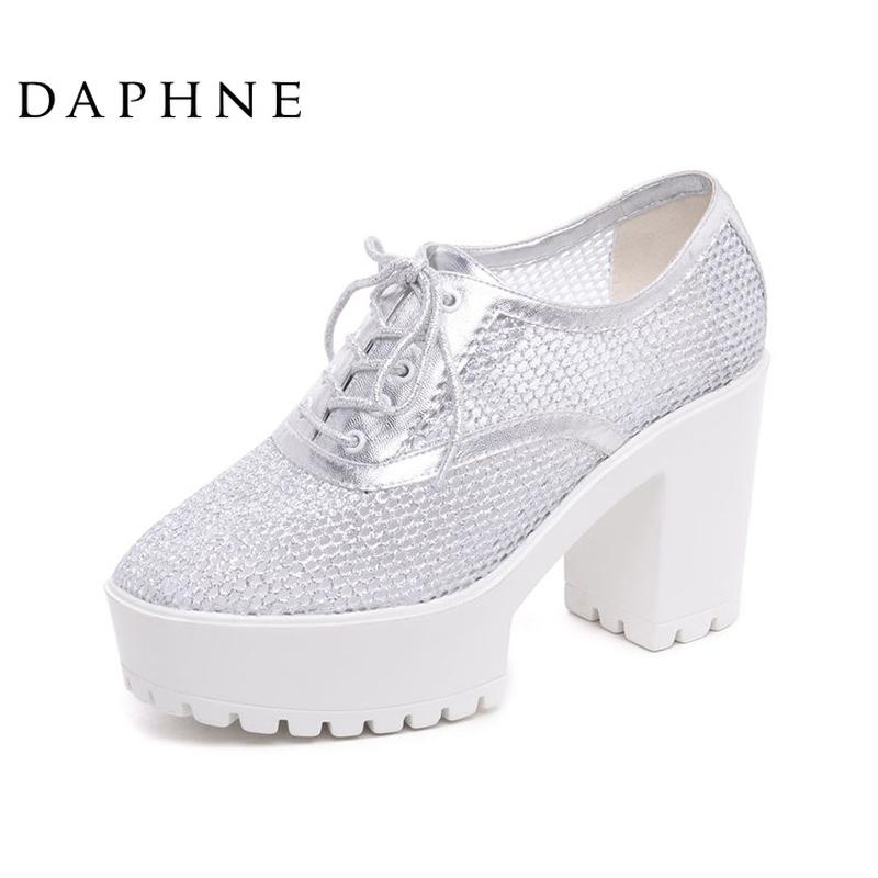 达芙妮女鞋时尚舒适潮流粗高跟防水台网布透气女单鞋