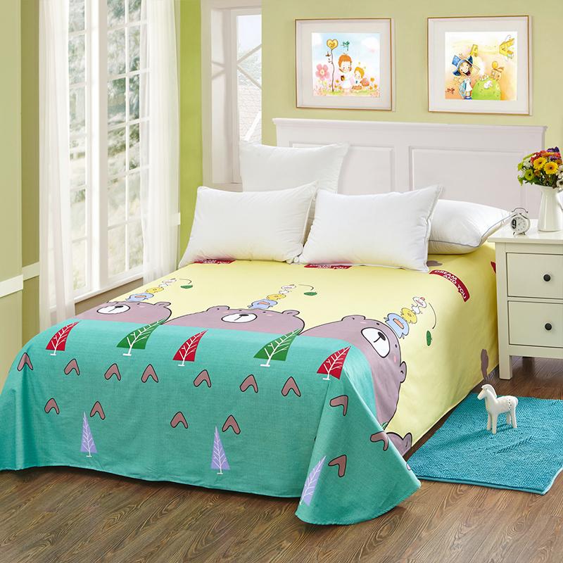 当当优品 纯棉斜纹床上用品 床单250*230cm 小青春(黄)当当自营 100%纯棉 不易褪色 0甲醛 透气防潮 大尺寸