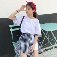 韩版时尚休闲套装夏装女装宽松格子拼接短袖T恤上衣+半身裙两件套