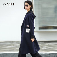 【到手价:900元】Amii极简高端时尚羊毛双面呢外套女2018冬季新款时尚绣花大衣