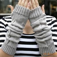 韩版露指毛线手套女冬季卡通可爱灰色保暖长款半指手套