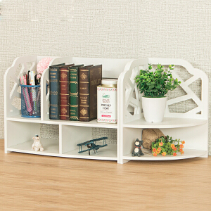 御目 书架 简易桌上三角置物收纳架木塑板桌面储物架子组合书柜子家具用品
