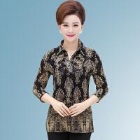 春秋季新中年女士上衣时尚妈妈装大码网纱中袖印花衬衫中老年女装