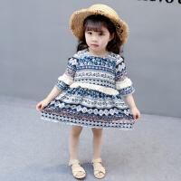 童装新款2018年夏装名族风裙子 时尚女童小童234岁宝宝连衣裙8163
